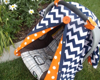 Carseat Canopy Carseat Cover Navy Orange Dot REVERSIBLE
