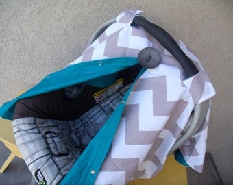 Carseat Canopy Chevron Deep Blue carseat cover nursing cover FREESHIPPING