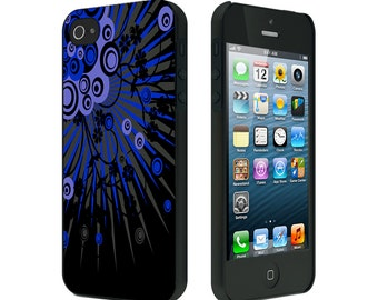 iPhone 4/4S case, iPhone 5 Case, iPhone 6, Black or White, Abstract Ray Circles Blue