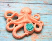 CORAL Octopus and TURQUOISE Blue Flower Pin back Button Brooch/Pendant Steampunk Inspired Rockabilly Wedding Inspired