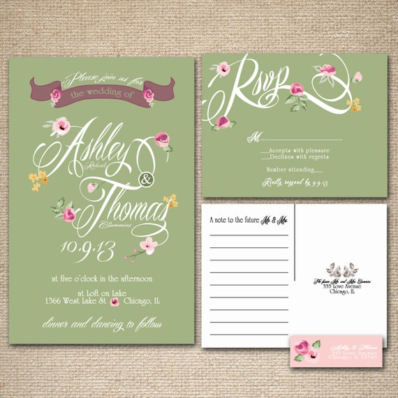 Floral Wedding Invitations Green And Pink Vintage Feel