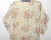 90s Vintage metallic gold floral sweater M L  Acrylic wool sparkle by Felissimo Italy NOS