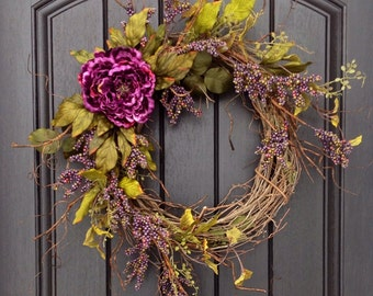 Spring Summer Fall Wreath Purple Berry Branches Twig Grapevine Door Wreath Decor Use Year Round Floral Door Decoration