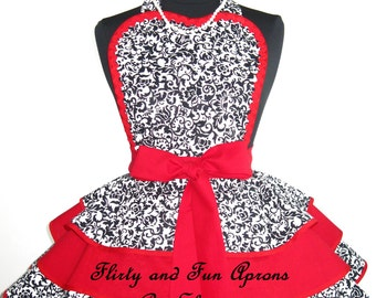 Flirty Red Black and White Damask Apron