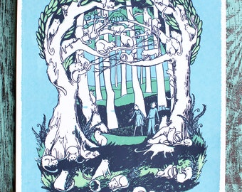 SALE! Cats in the Forest Trees Screen Print