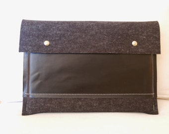 11 inch MacBook case / Macbook Pro 11 Air Case / 11 Macbook Air Bag / Macbook Pro Air - Anthracite felt & black leather