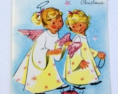 1940s Vintage Child ANGELS Christmas Card UNUSED, with envelope