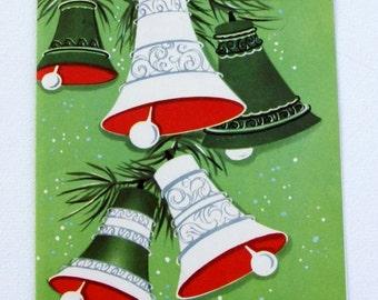 1940s Vintage White Bells Christmas Card UNUSED, with envelope