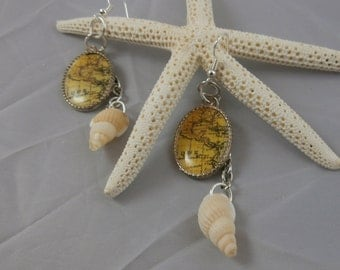 Shell and Sterling Silver Map Dangle Earrings