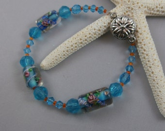 Blue and Orange Glass Beaded Bracelet