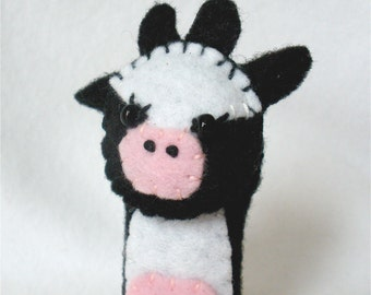 Cow Felt Finger Puppet, Storytelling Prop,  Hand Stitched Black and White,  3D Puppet