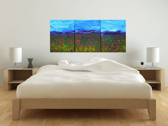 BIG SALE Floral Red Poppy Mountain Scene, Textured Multi Panel Three 18x42 by MyImaginationIsYours