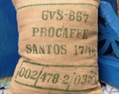 Recycled cocoa sack cushion