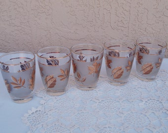 Vintage LIBBEY Set of 5 Beverage Tumblers Glasses.