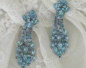 ANTIQUE  CLIP EARRINGs - Vintage Ice Blue Rhinestone Clips - Rhodium Plated - Mad Men Glam - DIY