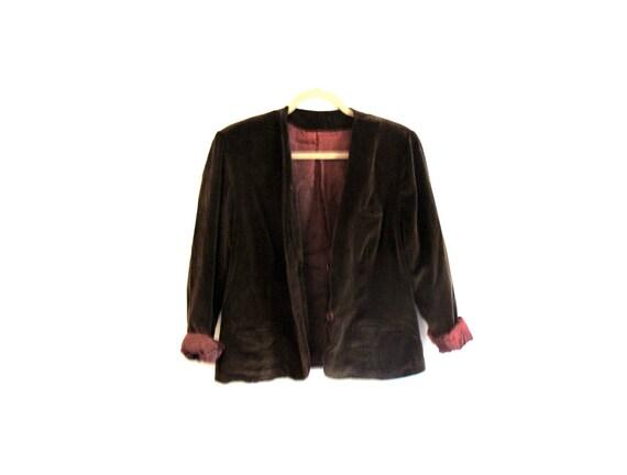 Velvet Cardigan - Blazer. Jacket. Chocolate-brown. Romantic. Fully-lined. VTG - Jacket