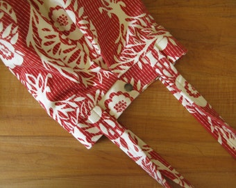 Rust Red Velveteen Woodcut Soft Purse/Tote
