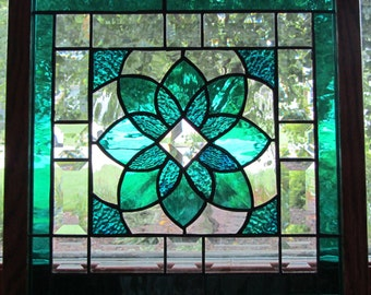 Teal Flower Bevel Panel