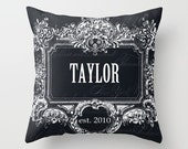 Throw Pillow Cover - Dark Framed Last Name on Vintage Ephemera Wedding Gift - 16X16, 18X18, 20X20 - Pillow Case Design Home Décor by Adidit