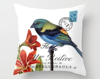 Throw Pillow Cover - Bird on Stand on Vintage French Ephemera - 16x16, 18x18, 20x20 - Pillow case Original Design Home Décor by Adidit