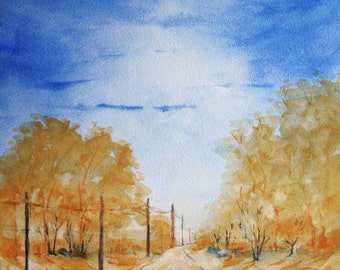 Road Landscape 15X11 Original Watercolor Painting, watercolor art, landscape painting, yellow, blue, autumn landscape, fall trees.