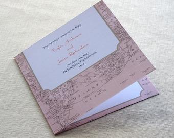 Vintage Map Wedding Program -  Destination Travel Ceremony Program - Square