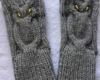 Owl  Mittens - Handknit  silver gray  Fingerless Gloves -Alpaca yarn