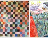 Colorful PATCHWORK Block Vintage Quilt- Some Pretty MID-CENTURY Fabrics
