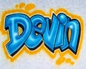 Airbrush T Shirt With Name In Block Letters, Airbrush Graffiti Shirt, Airbrush Graffiti Name, Airbrush T Shirt, Airbrush Shirt, Airbrush
