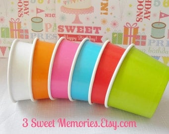75 - 8 oz Paper Ice Cream Cups- Ice Cream Social, Wedding, Baby Showers & Birthdays