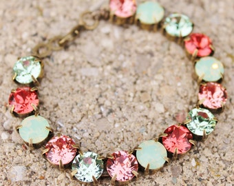 Swarovski Minty Green Opal and Coral Bracelet,Swarovski Rhinestone Tennis Bracelet,Chrysiolite Opal,Coral,Mint Opal,Peach,Salmon,Bridesmaids