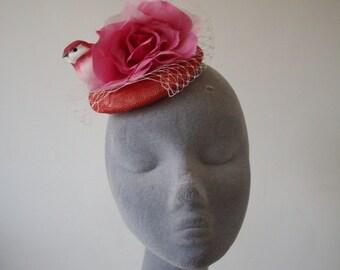 Pink Fascinator, Pink Bird and Rose Flower Large Fascinator, Pink Fascinator with Veiling, Pink Cocktail Hat, Pink Hatinator, Pink Headpiece