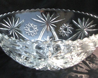 Vintage1960s Molded Clear Glass Bowl 11 inches by 4 inches