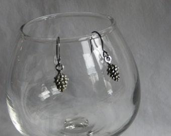 Silver Pine Cone Earrings on Gunmetal Ear Wires, earrings, ear wires, pine cone