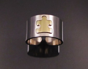 Puzzle Piece Silver & Brass ring
