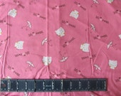 """HELLO KITTY 13"""" x 43""""  liFE Is SWeEt CaTs PInK on COTtOn FaBric ReMnant BoLt EnD"""