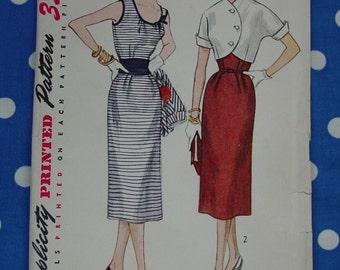 Vintage Pattern 1953 Simplicity No.4222 Sleeveless Dress,Jacket,Cummerbund Sz.16