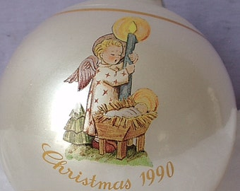 Vintage Schmid Christmas ornament, Angel's Light, 1990, Inspired by Berta Hummel, plastic Christmas ornament, Angel Christmas ornament