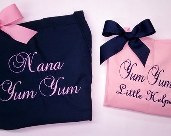 Personalized Apron Set Adult & Child Monogrammed Gifts