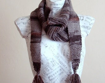 Unisex winter accessory, Hand knitted brown baktus Scarf - Ready for shipping from pet and smoke free home