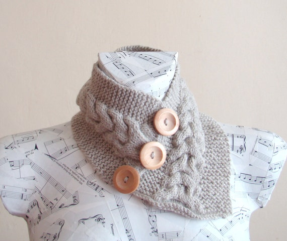 Handknitted Cable Stitch Gray Neckwarmer with 3 wooden buttons Winter Accessories