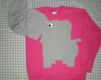 Bright pink elephant trunk sweatshirt. Adult unisex sizes, elephant shirt, elephant sweater
