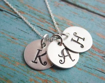 Initial Necklace Hand Stamped Mom Neckace Sterling Silver One Two Three Four Five Disc Monogram Necklace