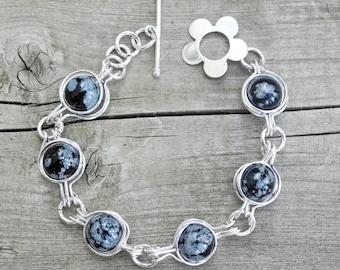 Wire Wrapped Snowflake Obsidian Bracelet