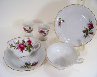 Vintage Tea Set Cup and Saucer and Egg Cups Bone China Set of 2 each