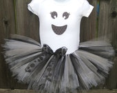 Baby Girl Halloween Ghost Tutu Set  | Girly Ghost Bodysuit, Tutu,  and Sparkle Ghost Headband