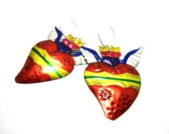 winged hearts tin earrings