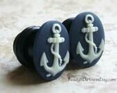 Anchor Plugs for gauged ears, sizes 1/2 Inch 00g, 0g, 2g, 4g, 6g, regular earrings, 10mm, 8mm, 6mm, 5mm, 4mm