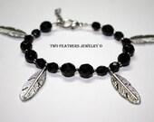 Four Feathers Beaded Bracelet - Feather Bracelet - Black Czech Glass Bracelet - Silver Feathers - Charm Bracelet - Black And Silver - Boho