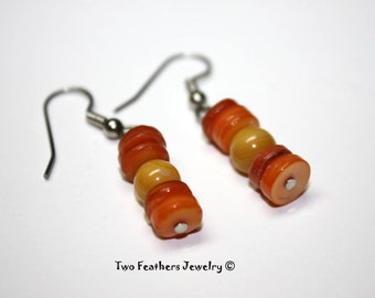 Shell Earrings - Orange And Yellow - Shell Heishi Earrings - Beaded Earrings - Orange Earrings - Yellow Earrings - Gift For Her